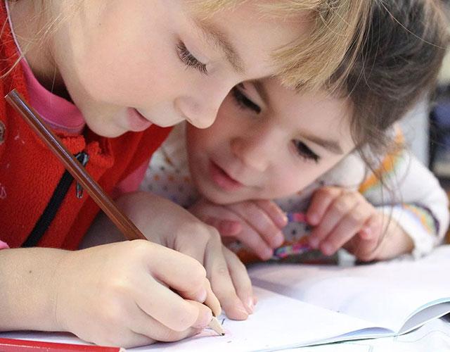 Preschool children colouring